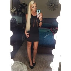 Mesh front fitted mini dress size S